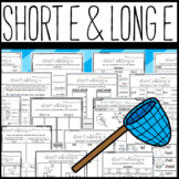 Long E and Short E Worksheets: Cut and Paste Sorts, Cloze, Sentences, and More