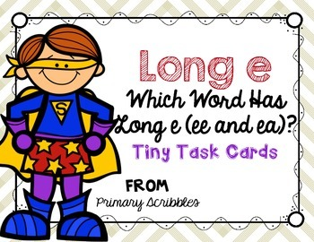 Long E (ee and ea) Tiny Task Cards