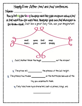 Long E (ee and ea) Word Work Pack- Fairy Tale themed