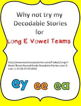 Long E vowel Teams Poster (EE,EA,EY)