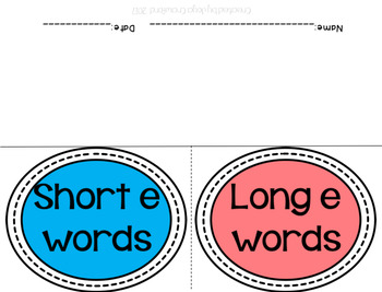 Short E vs. Long E Vowel Flap books