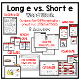 Long E vs. Short E Vowel Word Work