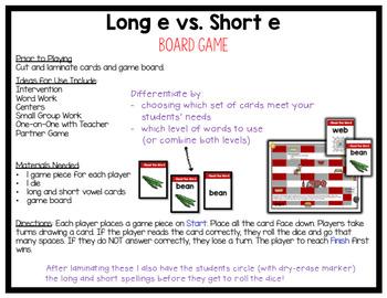 Long E vs. Short E Vowel Word Work