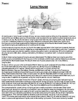Long House Description/Article Reading and Homework Assignment