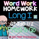 Long I Word Work ~ Long Vowels Worksheets and Practice with Application