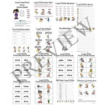 Long I CCVCe Vowel Sound Activity Packet and Worksheets