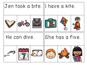 Long I CVCE Sentences Read & Clip Cards