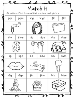 Long I (CVCe) Phonics Worksheets (No Prep)