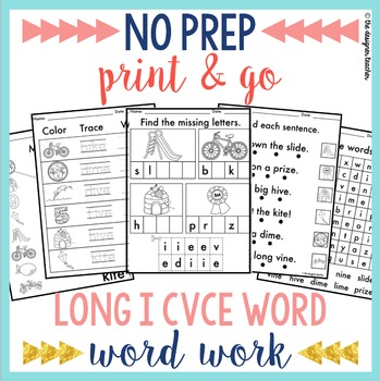 NO PREP Long I CVCe Word Worksheets Phonics Word Work