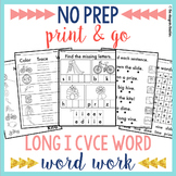 NO PREP Long I CVCe Word Worksheets | Long I Word Work