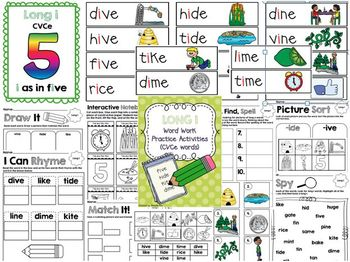 Long I (CVCe) Word Work Activities