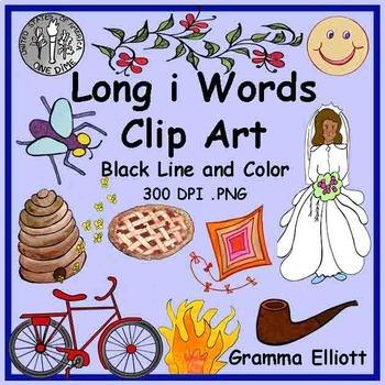 Long I Clip Art - Color and Black Line - 68 clips- 300 Dpi - PNG format
