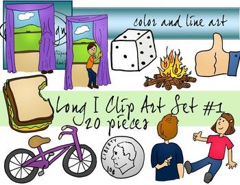 Long I Clip Art Set 1 - Color and Line Art 20 pc set