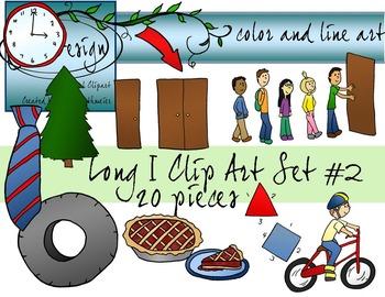 Long I Clip Art Set 2 - Color and Line Art 20 pc set