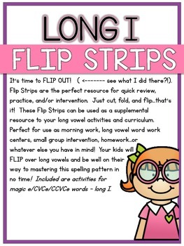 Long I Flip Strips - 6 Magic E/CVCe/CCVCe Cut, Fold, & Flip Activities