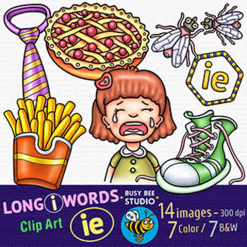 Long I -IE- Clip Art   Long Vowel Teams -I- Clipart Set