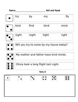 Long I (I_E and Y) Phonics Partner Reading Game