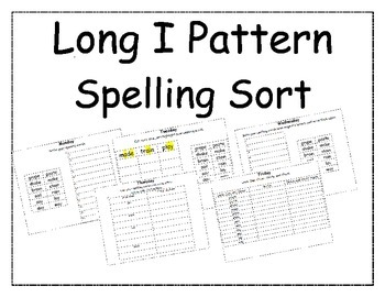 Long I Pattern Spelling Packet