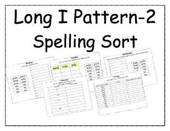 Long I Pattern Spelling Packet 2
