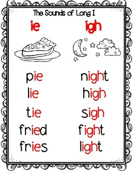 Long I Phonics Word Work - igh, ie, and y