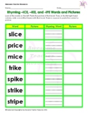 Long I: Rhyming –ICE, –IKE, and -IPE Words and Pictures Worksheet