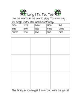 Long I Tic Tac Toe