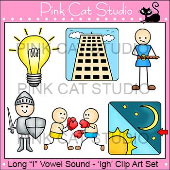 Long I Vowel Sound Spelled 'igh' Phonics Clip Art Set - Co