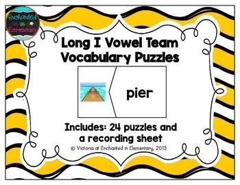 Long I Vowel Team Vocabulary Puzzles