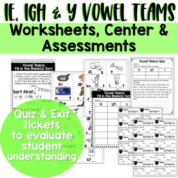 Ie, Igh, Y | Long I Vowel Teams: Reading, Writing, Sorting and More!