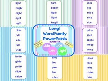 Long I Word Family PowerPoints Bundle Reading/Phonics for K, 1st or 2nd (CCS)