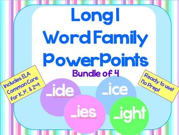 Long I Word Family PowerPoints Bundle Reading/Phonics for