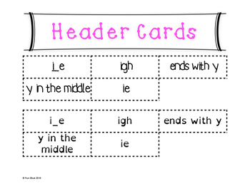 Long I Word Sort {Differentiated} + Seat work