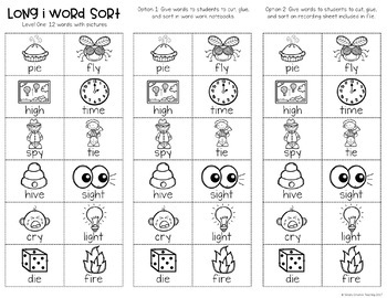 Long I Word Work Centers & Activities (i_e, ie, igh, y)