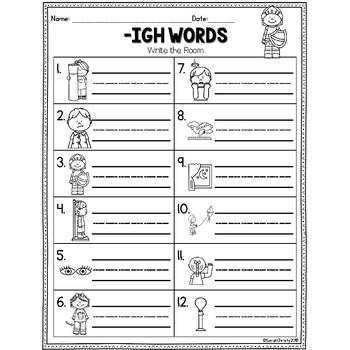 Long I Write the Room: -igh Words