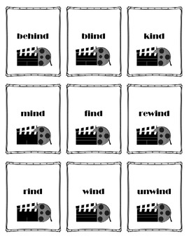 Long I, as in -ind and -ild, Word Card Game: Quiet on the Set