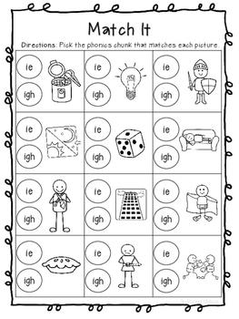 Long I (ie & igh) Worksheets
