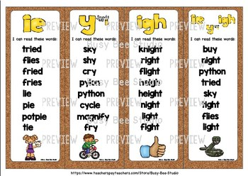 Long I (ie, igh, y sounds like i) Flash Cards
