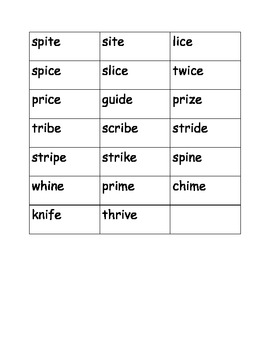Long I magic E (i_e) word cards