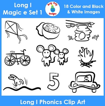 Long I (magic e) Phonics Clip Art Set 1