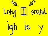 Long I sound -- igh, ie, y