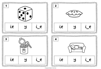 Long I task cards. 20 cards to practice i_e, y and ie.