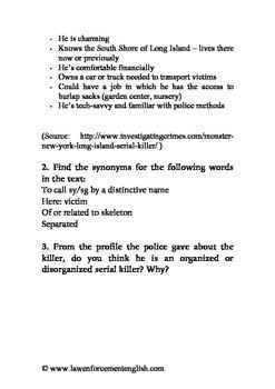 Long Island Serial Killer Reading Exercise