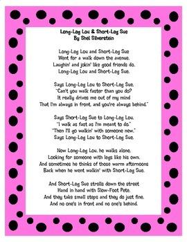 Long-Leg Lou & Short-Leg Sue By Shel Silverstein