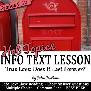 Valentine's Day Nonfiction Lesson on Hot Topics, Does True Love Last?