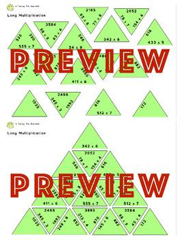 Long Multiplication Tarsia Puzzle Activity