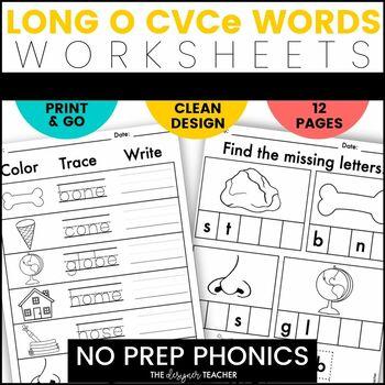 NO PREP Print & Go Long O CVCe Word Work