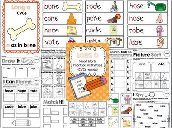 Long O (CVCe) Word Work Activities