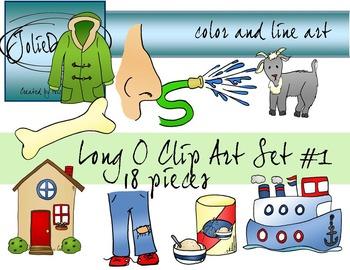 Long O Clip Art Set 1 - Color and Line Art 18 pc set