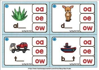 Long O Clip Cards (oa, oe, ow)
