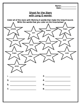 Long O Color the Stars Worksheet